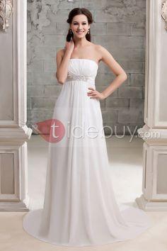 エンパイアチャペル床まで長さシフォンウェディングドレス