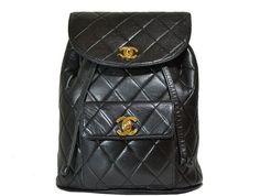 Chanel - Vintage Quilted Lambskin Backpack - Black