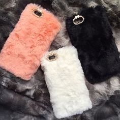 Furry phone case Super cute , brand new! Only have the pink and white left!  NO TRADES!!! Sorry  SHIPS WITHIN 24HRS OR LESS  SMOKE FREE HOME ALL ITEMS PACKED WITH LOVE Accessories Phone Cases