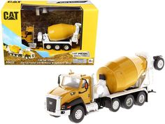 """CAT Caterpillar CT660 Day Cab Tractor with McNeilus Bridgemaster Concrete Mixer """"Play & Collect!"""" Series 1/64 Diecast Model by Diecast Masters Concrete Mixers, Rubber Tires, Diecast Model Cars, Caterpillar, Tractors, Box Packaging, It Cast, Play, Cats"""