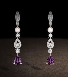 Chaumet – Earrings in platinum, diamonds and cultured pearls, set with pear-cut violet spinels. Biennale des Antiquaires 2012.