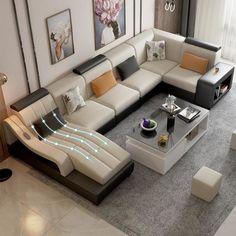 Latest Comfort Spacious Sofa With massage Recliner Seat Corner Sofa Design, Sofa Bed Design, Living Room Sofa Design, Home Room Design, Living Room Sofa Sets, Living Room Tv Unit Designs, Sofa Styling, Luxury Sofa, Modern Furniture