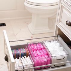 Bathroom organisation - Love a good secret stash 💗 home bathroom storage Bathroom Drawer Organization, Bathroom Organisation, Organization Hacks, Organizing Ideas, Organized Bathroom, Organising, Organization Ideas For The Home, Bathroom Shelves, Dorm Bathroom