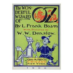 """Wonderful Wizard of Oz: Tinman and Scarecrow, from frontpiece illustration and title page in the 1900 edition of """"The Wonderful Wizard of Oz"""" By L. Frank Baum with pictures by W. W. Denslow. Published by Geo. M. Hill Co. Chicago and New York. The novel is one of the best-known stories in American popular culture and has been widely translated. (https://twitter.com/HawCreekShop/status/534475043783577600) (http://haw-creek.com/shop/wonderful-wizard-of-oz/)"""