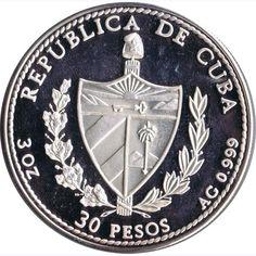 Moneda 3 onzas de plata 30 pesos Cuba Reina Juana 1991., Tienda Numismatica y Filatelia Lopez, compra venta de monedas oro y plata, sellos españa, accesorios Leuchtturm