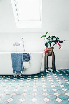 Beyond words Attic renovation before and after,Attic renovation calgary and Attic bathroom no hot water. Interior, Scandinavian Home, Flooring, Bathrooms Remodel, Blue Tiles, Bathroom Design, Bathroom Decor, Beautiful Bathrooms, Tile Bathroom