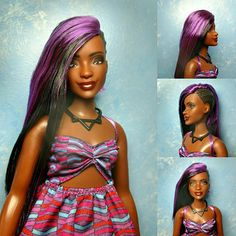 This doll comes nude or with her original outfit (dress, shoes, necklace) for $1 more- OOAK One of a kind! Nadine has been rerooted with black hair and a top layer of vibrant purple. Her braided sidecut is molded vinyl painted black. She has smokey black/purple eyeshadow, burgundy glossy lips and brown eyes. She has a curvy body. She is articulated at: -head -arms -legs It is important to note Nadine has a light scuffing on her breast. (Factory flaw, not my fault.)  If you wish to body-s...