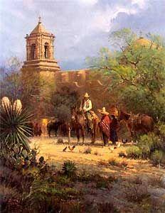 Harvey Art--Mission San Jose by G. Harvey, a G. Harvey limited edition available from J Watson Fine Art 661 your source for G. G Harvey, Cowboy Art, Cowboy Chic, Western Landscape, Southwest Art, Western Art, Modern Artwork, Old West, Best Artist