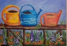 """Lala Fifi Tree-Lady  Painted """" three watering cans"""" Love the flowers underneath."""
