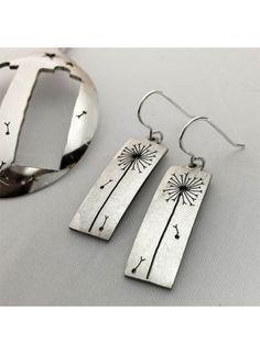 handmade and upcycled vintage flatware spoon dandelion clock earrings