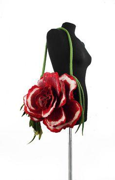 Felted Bag Flower Handbag Nunofelt Purse Felt Nunofelt by filcant
