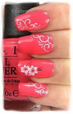 Nail Art by Belegwen nail nails nailart white designs on pink coral fingernail polish Beautiful Nail Art, Gorgeous Nails, Pretty Nails, Fingernail Designs, Nail Art Designs, Fancy Nails, Pink Nails, Swirl Nail Art, Flower Nails