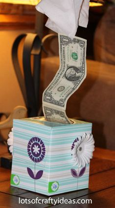 Tissue Money Gift or white elephant gift!  might need to remember this!!