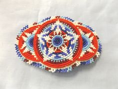 Native American RED, WHITE, BLUE USA COLORS Barrette - Beatiful STAR Pattern ! | eBay