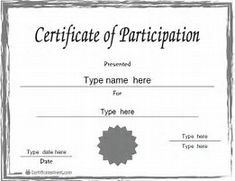 Child Certificate Of Partcipation Template  Certificate Of