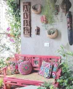 Ein Balkon-Garten in Mumbai – Terrasse decken auf – Dhara Trivedi – Dekoration Hippie Home Decor, Indian Home Decor, Diy Home Decor, Mumbai, Balcony Design, Garden Design, Landscape Design, Terrace Garden, Brick Garden