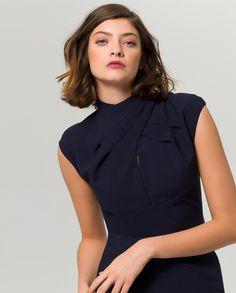 2d947a27c606 Pleated Collar Cocktail Dress - midnight blue