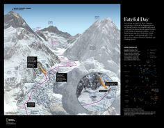 FATEFUL DAY --- At 6:45 a.m. on April 18, 2014, a massive section of ice calved off the hanging glacier on Mount Everest's west shoulder and roared a thousand feet down into the upper Khumbu Icefall, killing 16 mountain workers. By Martin Gamache. Published on November 2014