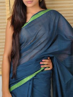 Yale Blue Saree with Waves