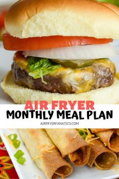 ready to plan out an Air Fryer Monthly Meal Plan! This meal plan consists of ALL and will help you get on track this month. Air Fryer Dinner Recipes, Air Fryer Recipes Easy, Lunch Recipes, Breakfast Recipes, Sausage Recipes, Beef Recipes, Healthy Recipes, Healthy Foods, Chicken Recipes
