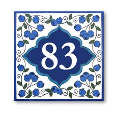 Address Plaque House Numbers sign Blueberries by AyeBarDesigns