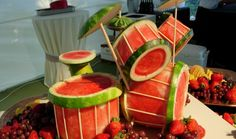 Drums made out of watermelon.. In Bali, there is a man who specializes in making instruments out of fruit ... So cool