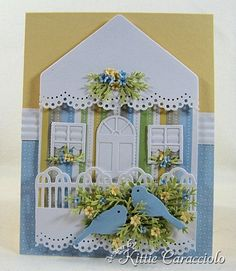 SWEET little Birdhouse card - love the doily edging - great theme, would be nice inspiration for a quilted fabric collage too