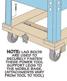 Shop-Built Mobile Tool Base with wheel lock