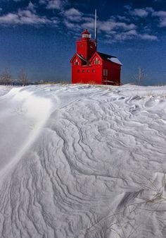 The Lighthouse - Big Red During Winter In Holland, Michigan