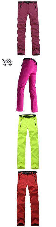2017 Elastic Thermal Tech Fleece Women's hiking Softshell Pants Waterproof Windproof Trousers Outdoor Sport Trekking Ski Pants