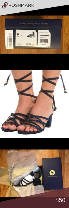 """Adrienne Vittadini Lace-Up Sandals Adrienne Vittadini Lace-Up Sandals  Brand New In Box!!!  Kid Suede  Navy Blue Heel Height: approx. 2""""  Size: 8  🌻Reasonable Offers Welcome🌻 Adrienne Vittadini Shoes Sandals"""