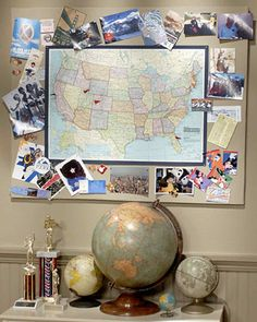 Souvenirs and photos of family trips and vacations are usually put away for safekeeping or placed in an album, but creating a memory board is one way to display them prominently. Martha constructs a memory board made from a map and piece of fabric-covered fiber board. Once it's finished, Martha pins small flags at the locations she's visited, as well as an assortment of photographs, ticket stubs, and other memorabilia around the edges of the map.