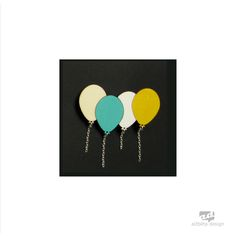 Baloons - plywood brooch