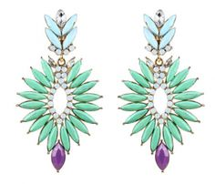 Spiked Punch Earrings in mint green, baby blue, purple, AB & clear glass crystals & Gold plated.