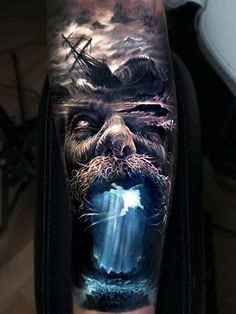 Tattoo photo - Poseidon tattoo by Arlo Tattoos Hai Tattoos, Forearm Tattoos, Body Art Tattoos, Portrait Tattoos, Tattoos Skull, Pirate Skull Tattoos, Pirate Ship Tattoos, Tattoo Photos, Tatoos