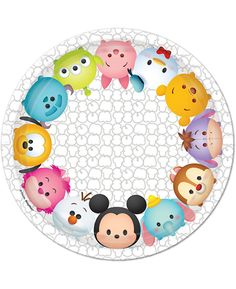 Pack contains 8 paper plates, 7 inches in diameter. 1 PKG per listing. Great for the Disney and Tsum Tsum fans! These officially licensed Tsum Tsum Disney characters paper plates are the perfect addit Tsum Tsum Party, Disney Tsum Tsum, Dessert Design, Kylie Birthday, Disney Birthday, Disney Doodles, Design Plat, Tsumtsum, Dibujos Cute