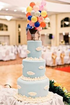 Up-inspired Wedding Cake! I probs would keep the cake white.