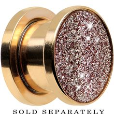 0 Gauge Rose Gold Anodized Titanium Rose Sugar Glitter Screw Fit Plug | Body Candy Body Jewelry #bodycandy