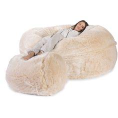 Cloudsac Our Original 1000 L Memory Foam Bean Bag Sofa Fluffy Faux Fur White Fox