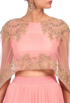 Baby pink embroidered cape lehenga set