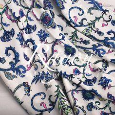 Blue Paisley Rayon fabric