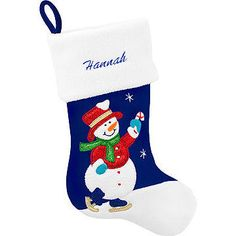 Personalized Snowman With Candy Cane Stocking #blue #personalized #stocking #Christmas #snowman $17.99