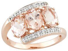 Cor-de-rosa Morganite 2.16ctw Oval With Diamond Accent 10k Rose Gold Ring - VEM024 - JTV.com®