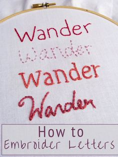 If you want to add a personal touch to your projects, learning how to embroider letters is a great skill to have. There are countless possibilities for adding lettering to all your sewing and craft… Embroidery Stitches Tutorial, Sewing Stitches, Hand Embroidery Designs, Embroidery Techniques, Embroidery Patterns, Diy Hand Embroidery Letters, Quilt Patterns, Design Patterns, Simple Embroidery