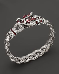 John Hardy Sterling Silver Naga Dragon Bracelet with Red Sapphire and Ruby Eyes