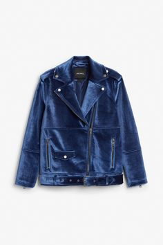 Monki Image 1 of Velvet biker jacket in Blue Dark
