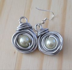 Silver and Pearl Earrings, Wire wrapped nest drop earrings,handmade - pinned by pin4etsy.com