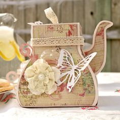 (BLACK AND PINK INVITE) Prima and Pazzles Fairy Rhymes Tea Pot Box