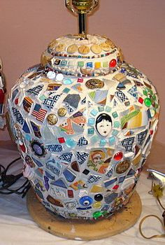 Mosaic lamp but using blue and white china pieces