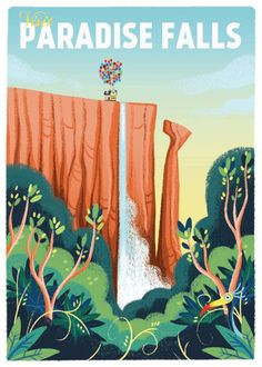 "Paradise Falls - ""UP"" print Posters Disney Vintage, Disney Movie Posters, Vintage Travel Posters, Vintage Disney Art, Collage Mural, Bedroom Wall Collage, Photo Wall Collage, Up Pixar, Art Disney"